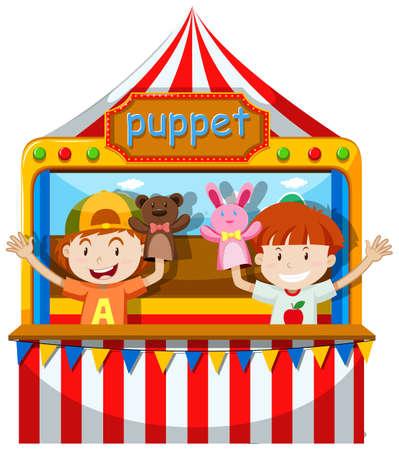 Jongens spelen marionet op het podium illustratie