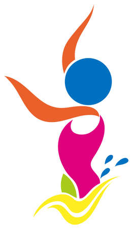 natación sincronizada: Icono del deporte de la ilustración nado sincronizado