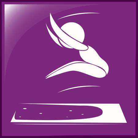salto de longitud: Icono del deporte del atleta que hace la ilustración larga de salto