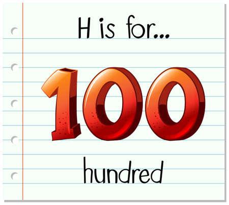 hundred: Flashcard letter H is for hundred illustration Illustration