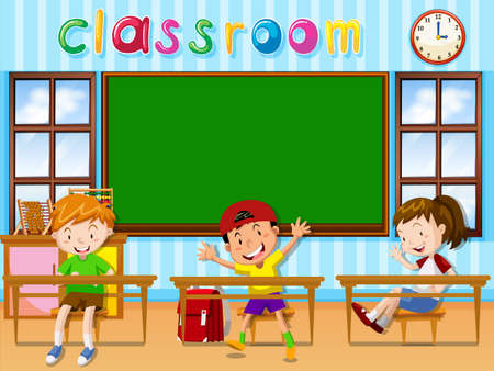 school class: Three students in the classroom illustration