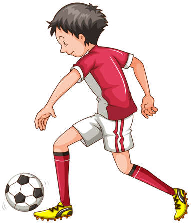playing soccer: Man in red outfit playing soccer illustration