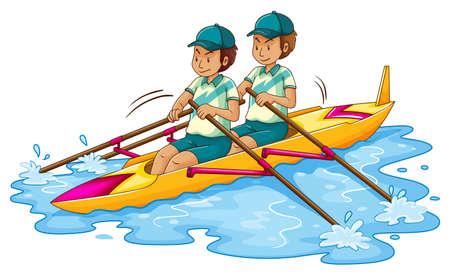 Twee mannen roeien kajak illustratie Stock Illustratie