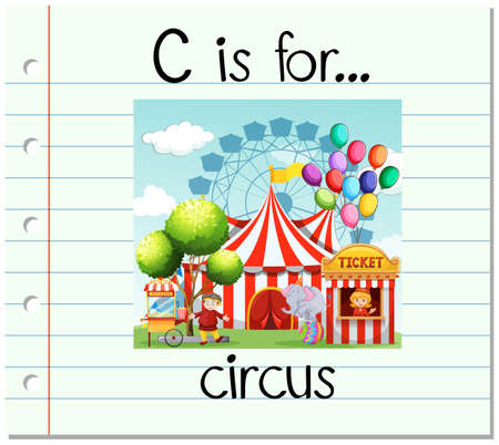 amusement park rides: Flashcard letter C is for circus illustration Illustration