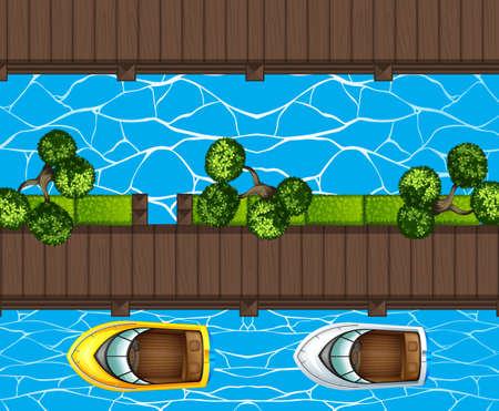 barche: Vista dall'alto di un parcheggio barche al molo illustrazione