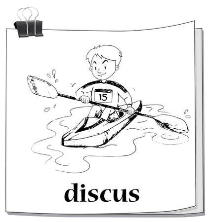 rowing boat: Doodle man rowing boat illustration Illustration