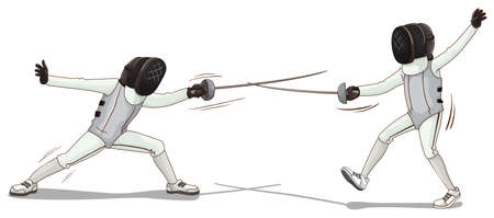 Two people doing fencing illustration Illustration