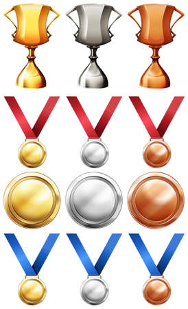 medal: Different sport trophies and medals illustration