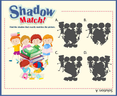 educational problem solving: Game template with shadow matching children illustration