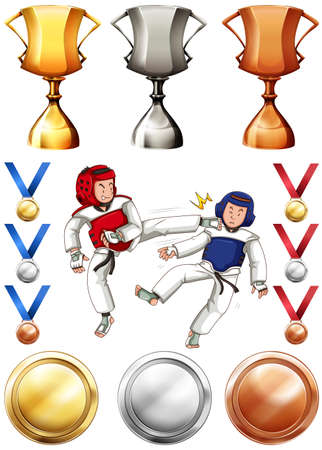fighting: Taekwondo and many trophies and medals illustration Illustration