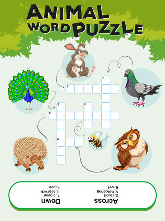 childrens book: Game template for animal word puzzle illustration
