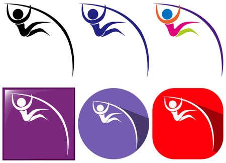 pole vault: Three designs of icons for pole vault illustration