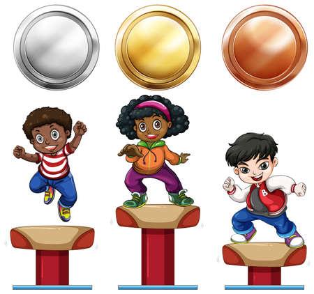 silver medal: Sport medals and children on balance bar illustration