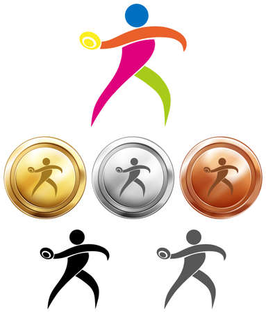 discus: Sport medals with discus throwing illustration