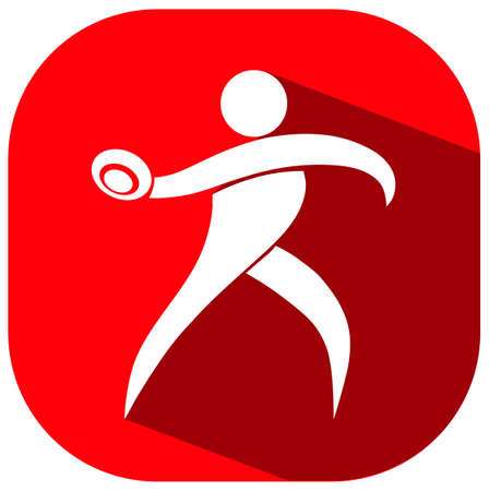 discus: Square icon of athlete throwing discus illustration