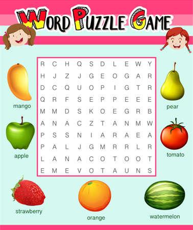educativo: plantilla juego de rompecabezas de la palabra con las frutas ilustración