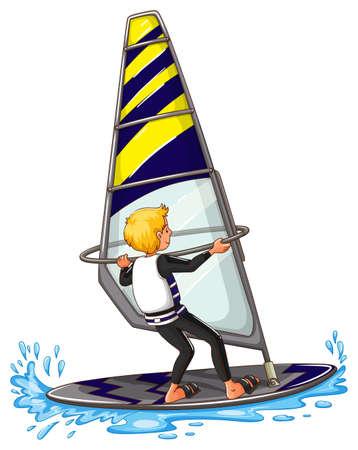 windsurf: Man athlete sailing on surfboard illustration