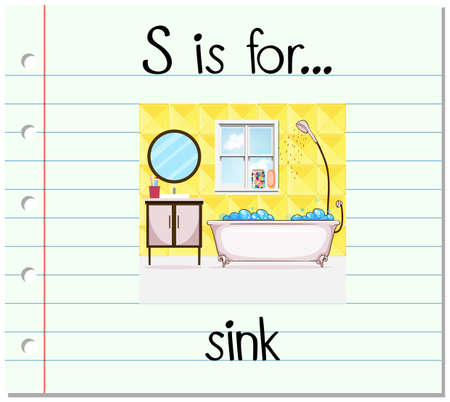 bathroom mirror: Flashcard letter S is for sink illustration Illustration