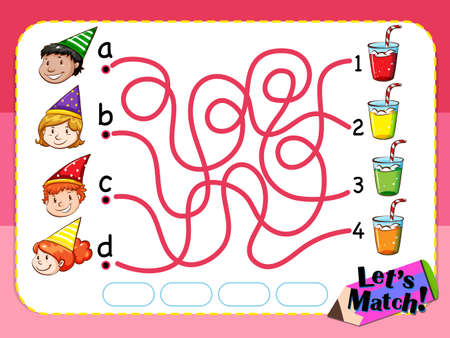 matching: Game template for matching things and people illustration