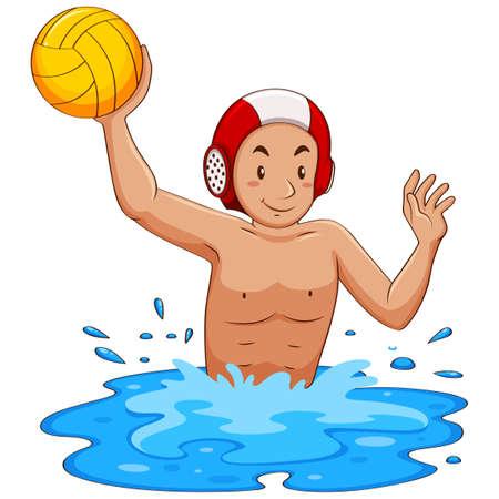 water polo: Hombre que juega el water polo en la ilustración de la piscina