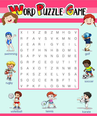 Game template with word puzzle illustration