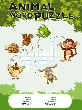 crossword puzzle: Game template for animal word puzzle illustration