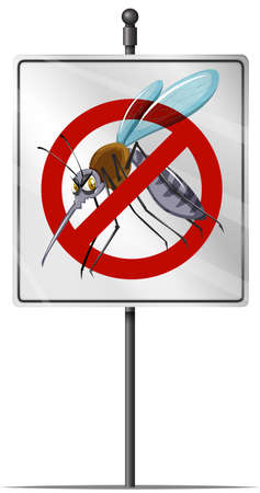 disease carrier: Sign for mosquito control illustration