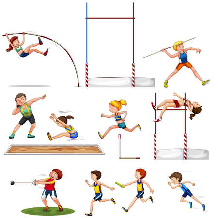 Different kind of track and field sports illustration Vectores