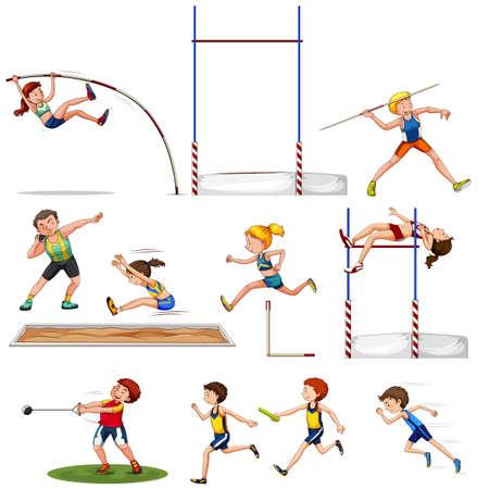 salto largo: Diferentes tipos de ilustración de pista y campo de deportes