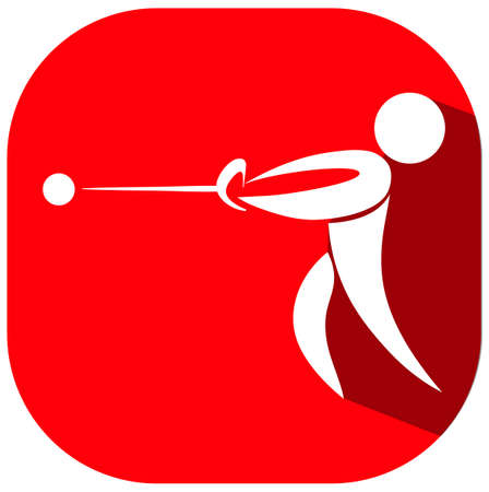 throwing: Sport icon for hammer throwing on red badge illustration Illustration