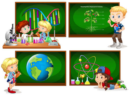 school class: Children and different school subjects illustration