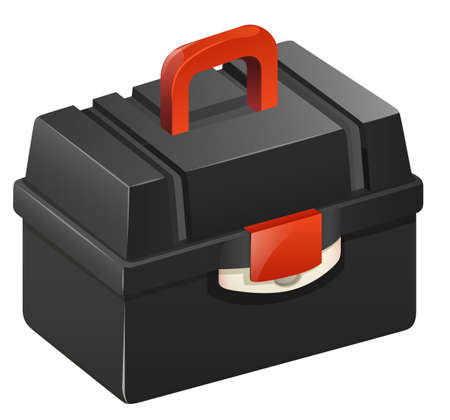 mending: Black tool box with red handle illustration