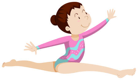 gymnastics: Woman athlete doing gymnastics illustration