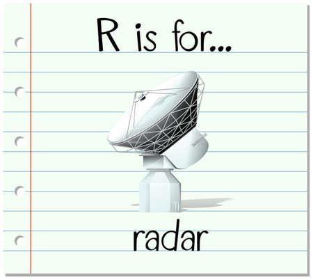 Flashcard letter R is for radar illustration