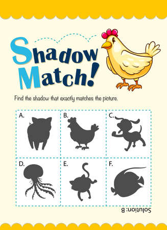 matching: Game template for shadow matching illustration