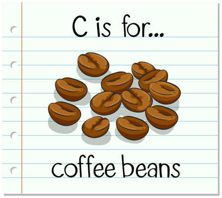 coffee beans: Flashcard letter C is for coffee beans illustration Illustration