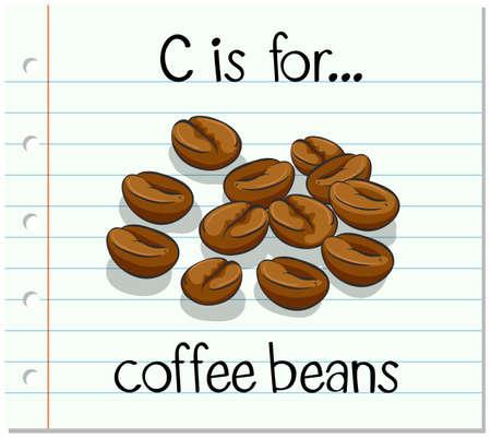 chicchi di caff?: Flashcard lettera C è per i chicchi di caffè illustrazione