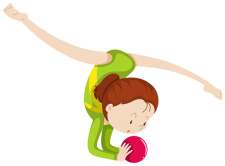 flexible woman: Woma doing gymnastics with red ball illustration