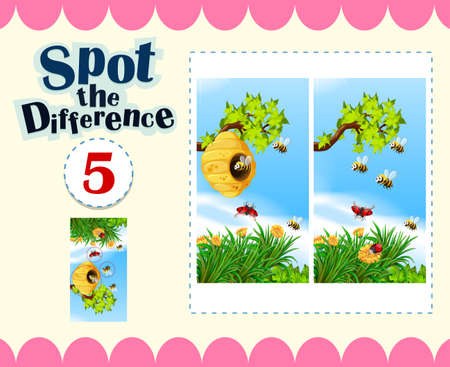 spot the difference: Spot the difference with insects flying  illustration Illustration
