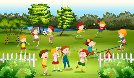 park: Children playing games in the park illustration