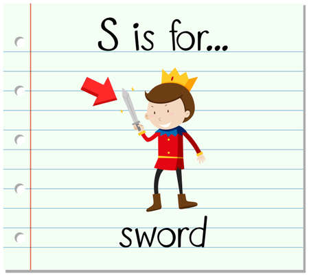 fantacy: Flashcard letter S is for sword illustration