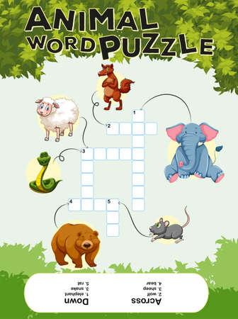 crossword: Crossword puzzle with many animals illustration