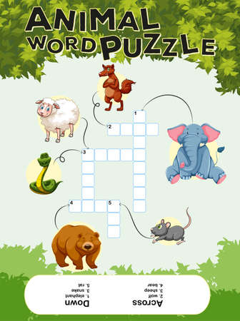 Crossword puzzle with many animals illustration