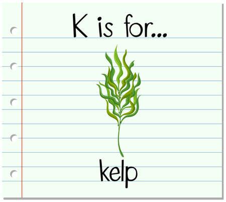 alga marina: Carta Flashcard K est� para el ejemplo de algas
