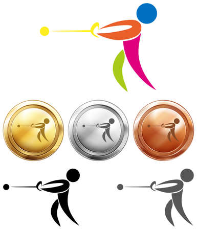 throwing: Different medal for hammer throwing illustration