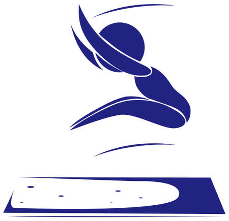 salto largo: Icono del deporte de la ilustración larga de salto