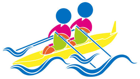 piragua: Diseño del icono del deporte para la ilustración kayak Vectores
