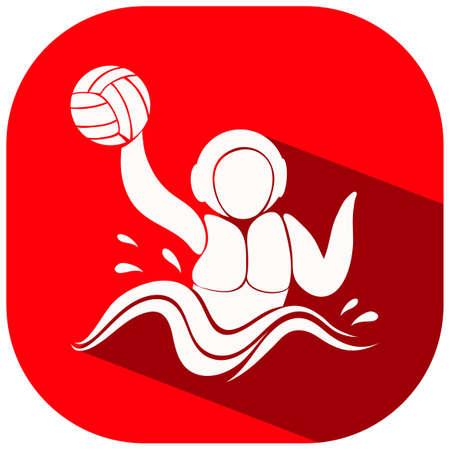 water polo: icono rojo para la ilustración de waterpolo