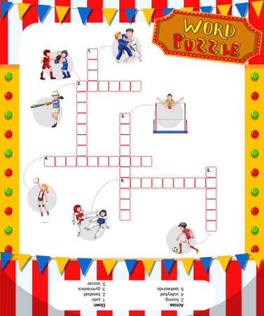 educational problem solving: Word puzzle game with sports theme illustration