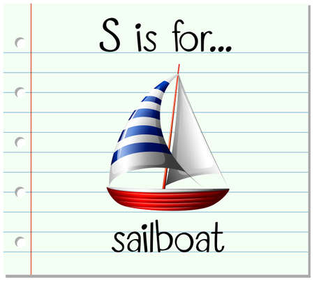 Flashcard letter S is for sailboat illustration